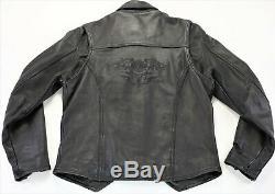Womens Harley-davidson Veste En Cuir L Bouclier Barre Noire Zip Encliquetage Souple V-cut