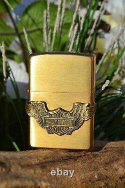 Zippo Briquet Harley Davidson Bar & Shield Avec Ailes Rare 204bhd H281