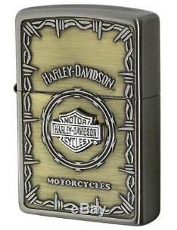 Zippo Harley Davidson Hdp-67 Bar & Shield Silver Gold Oil Lighter Japan Limited