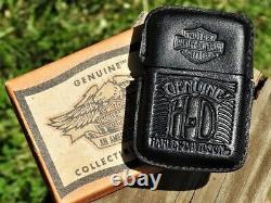 Zippo Lighter Harley Davidson Barre En Cuir Et Menthe De Bouclier Super Rare