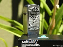 Zippo Made Harley Davidson Aux Etats-unis Blu Bar And Shield Butane Rare